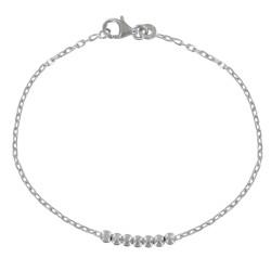 Bracelet Sept Perles d'Argent Rhodié
