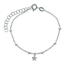 Bracelet Argent Breloque Etoile et Billes Argent