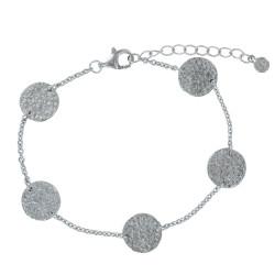 Bracelet Argent Rhodié Cinq Pastilles Martelées