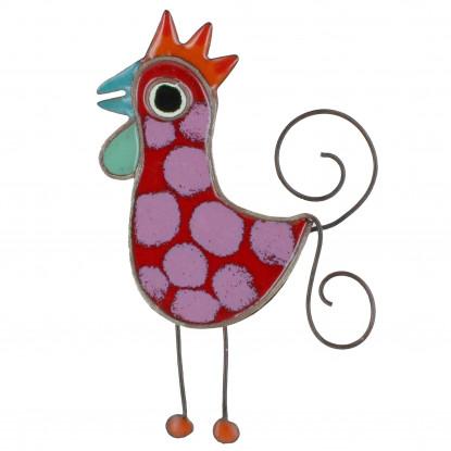 Broche Coq émaillée Rouge à Pois Violet