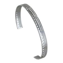 Bracelet Argent Rhodié Demi Jonc Plat Soleil