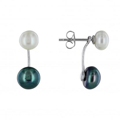 Boucles d'Oreilles Clou Argent Une Perle de Culture Blanche et Une Perle de Culture Noire Amovible