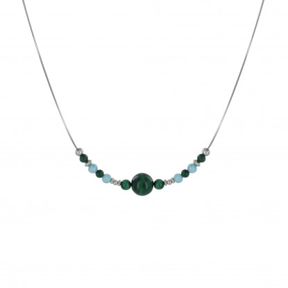 Collier Câbles Gris Sept Perles de Malachite Quatre Perles de Larimar Perles et Anneaux Argent