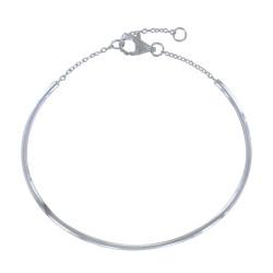 Bracelet Argent Demi Jonc et Chainette