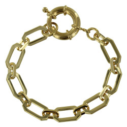 Bracelet Plaqué Or Maille Rectangle Fermoir Bouée