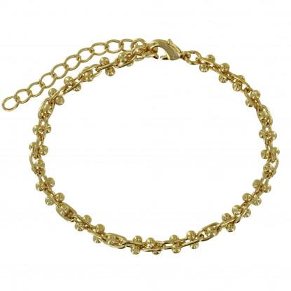 Bracelet Plaqué Or Maillons Ovales et Double Perles