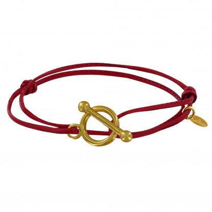 PRIX Bracelet Plaqué Or Fermoir T et Lien en Cuir Coulissant
