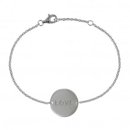 Bracelet Argent Rhodié Médaille Ronde Love