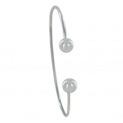 Bracelet Argent Demi Jonc Deux Perles Moyennes