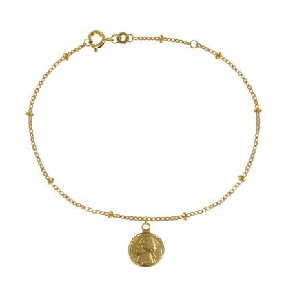 Bracelet Plaqué Or Pièce de Cinq Cents