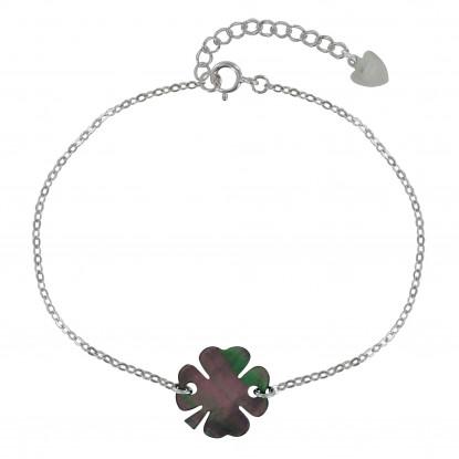 Bracelet Argent Petit Trèfle de Nacre Grise