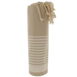 Grand Fouta Drap Plage et Hammam Coton Couleur Beige Rayé Blanc 150 x 250cm