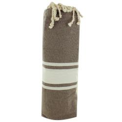 Fouta Drap Plage et Hammam Coton Couleur Chocolat 100 x 200cm
