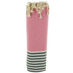 Fouta Drap Plage et Hammam Coton Couleur Rose Rayé Blanc et Bleu 100 x 200cm