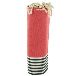 Fouta Drap Plage et Hammam Coton Couleur Rouge Rayé Blanc et Bleu 100 x 200cm