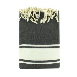 Grand Fouta Drap Plage et Hammam Coton Couleur Gris Foncé 190 x 300cm