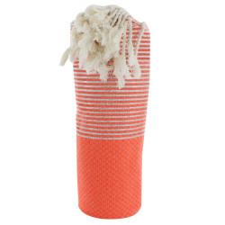 Fouta Drap Plage et Hammam Coton Nid d'Abeille Orange Fluo Petites Rayures Lurex Argent 100 x 200cm