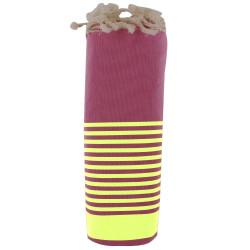 Fouta Drap Plage et Hammam Coton Couleur Fuchsia Rayé Vert Fluo 100 x 200cm
