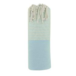 Fouta Drap Plage et Hammam Coton Nid d'Abeille Bleu Ciel Petites Rayures Lurex Argent 100 x 200cm
