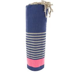 Fouta Drap Plage et Hammam Coton Bleu Bande Rose Fluo et Petites Rayures Blanches 100 x 200cm