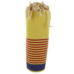 Fouta Drap Plage et Hammam Coton Jaune Clair Bande Bleue et Petites Rayures Rouges 100 x 200cm