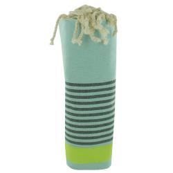 Fouta Drap Plage et Hammam Coton Vert d'Eau Bande Jaune Fluo et Petites Rayures Vertes Foncées 100 x 200cm