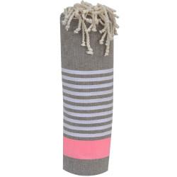 Fouta Drap Plage et Hammam Coton Bleu Ciel Bande Rose Fluo et Petites Rayures Blanches 100 x 200cm