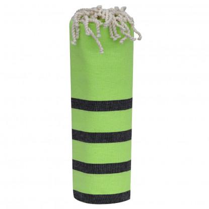 Fouta Drap Plage et Hammam Coton Couleur Vert Petites Rayures Noires 100 x 200cm