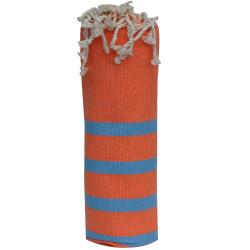 Fouta Drap Plage et Hammam Coton Couleur Orange Petites Rayures Turquoises 100 x 200cm