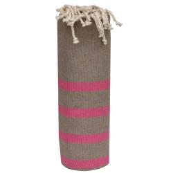 Fouta Drap Plage et Hammam Coton Couleur Marron Petites Rayures Fuchsia 100 x 200cm