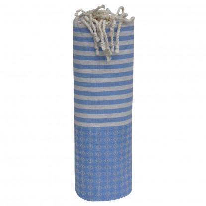 Fouta Drap Plage et Hammam Coton Jacquard Bleu Rayures Grises Claires 100 x 200cm