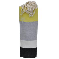 Fouta Drap Plage et Hammam Coton Jacquard Etoile Noir Beige Gris Jaune 100 x 200cm