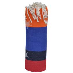Fouta Drap Plage et Hammam Coton Jacquard Etoile Rouge Noir Bleu Marine Orange 100 x 200cm