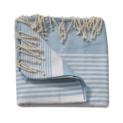 Grand Fouta Drap Plage et Hammam Coton Couleur Bleu Ciel Rayé Blanc 150 x 250cm