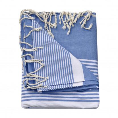 Grand Fouta Drap Plage et Hammam Coton Couleur Bleu Rayé Blanc 190 x 300cm