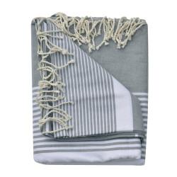Grand Fouta Drap Plage et Hammam Coton Couleur Gris Rayé Blanc 190 x 300cm