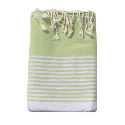 Grand Fouta Drap Plage et Hammam Coton Couleur Vert Rayé Lurex Argent 200 x 300cm