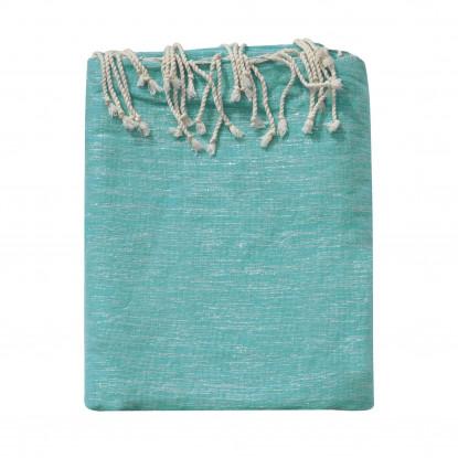 Grand Fouta Drap Plage et Hammam Coton Couleur Turquoise et Lurex Argent 200 x 300cm