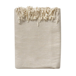 Grand Fouta Drap Plage et Hammam Coton Couleur Beige et Lurex Argent 200 x 300cm