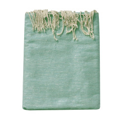 Grand Fouta Drap Plage et Hammam Coton Couleur Vert d'Eau et Lurex Argent 200 x 300cm