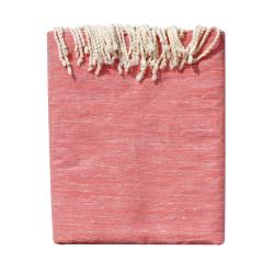 Grand Fouta Drap Plage et Hammam Coton Couleur Rouge et Lurex Argent 200 x 300cm