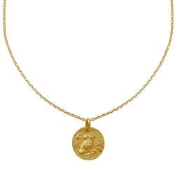 Collier Plaqué Or Médaille Ronde Martelée Chouette