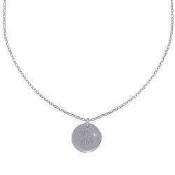 Collier Argent Rhodié Médaille Ronde Gravée Mon Etoile