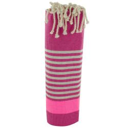 Fouta Drap Plage et Hammam Coton Fuchsia Bande Rose Fluo et Petites Rayures Grises Claires 100 x 200cm