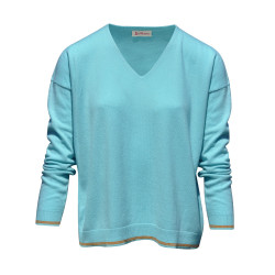 Pull en Cachemire Oversize 2 Rayures - Turquoise
