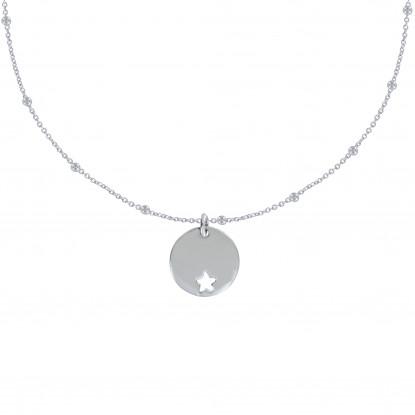 Collier Argent Chaine Billes Médaille Ronde Ajourée d'Une Etoile