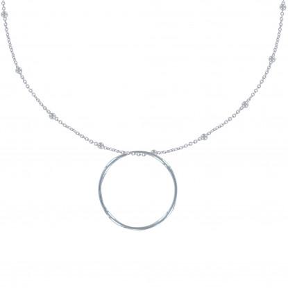 Collier Argent Chaine Billes et Cercle