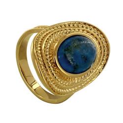Bague Plaqué Or Ovale Torsadé et sa Pierre de Lapis Lazuli