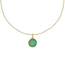 Collier Plaqué Or Médaille Ronde Amazonite