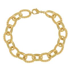 Bracelet Plaqué Or Grosses Mailles Ovales Lisses et Torsadées